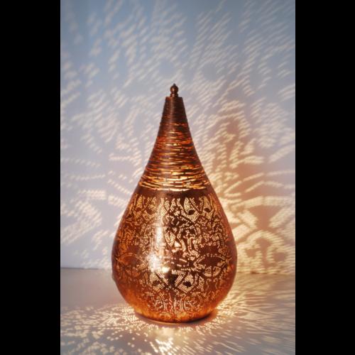 Tafellamp Ameera filigrain druppel vintage koper in 2 maten