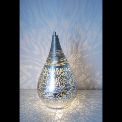 Tafellamp Ameera filigrain druppel vintage zilver in 2 maten