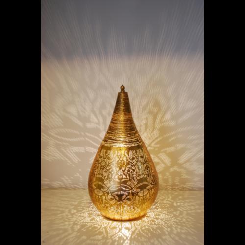 Tafellamp Ameera filigrain druppel vintage goud in 2 maten