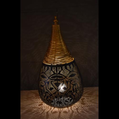 Tafellamp Ameera filigrain druppel zwart/goud in 2 maten
