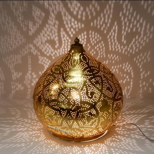 Tafellamp Ameera filigrain onion vintage goud in 2 maten