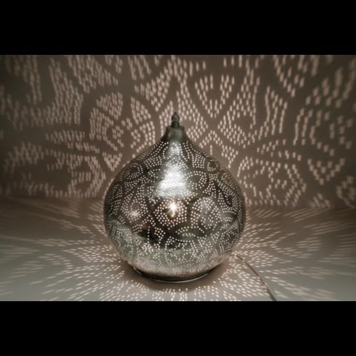 Tafellamp Ameera filigrain onion vintage zilver in 2 maten