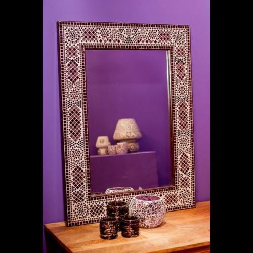 Spiegel Diya met paars mozaïekframe in 4 maten