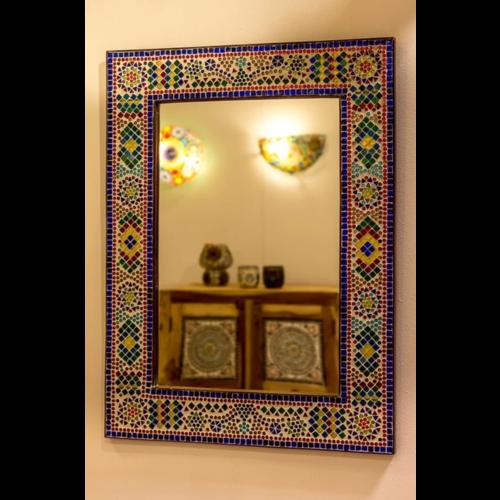 Spiegel Diya met multi-colour mozaïekframe in 4 maten