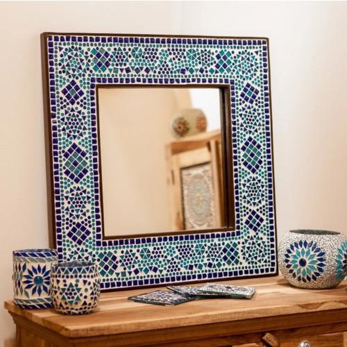 Spiegel Diya met blauw mozaïekframe in 4 maten