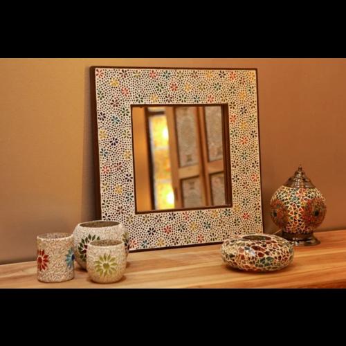 Spiegel Daria met multi-colour mozaïekframe in 4 maten