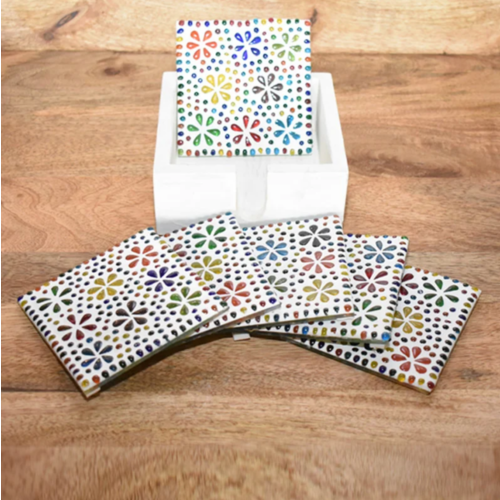 Mozaïek onderzetters Hudat multi-colour in houten box in 2 maten