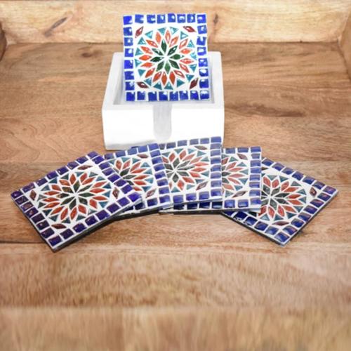 Mozaïek onderzetters Roya multi-colour in houten box