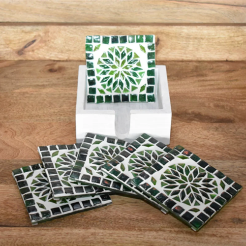 Mozaïek onderzetters Roya groen in houten box