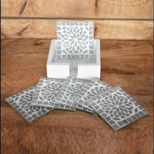 Mozaïek onderzetters Roya transparant in houten box