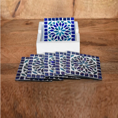 Mozaïek onderzetters Roya blauw in houten box