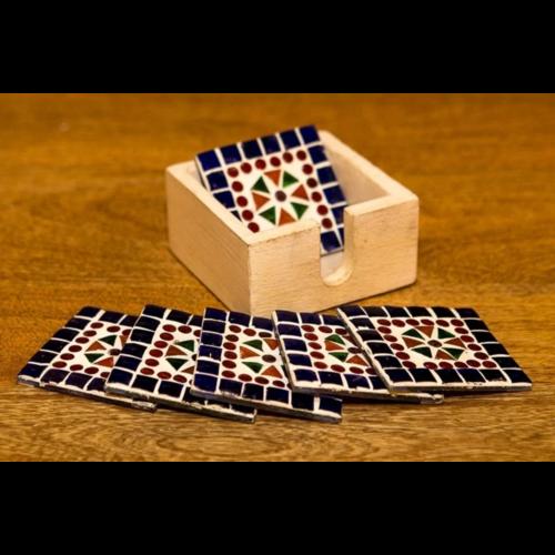Mozaïek onderzetters Cantara multi-colour/blauw in houten box