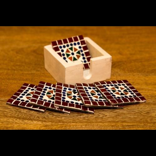 Mozaïek onderzetters Cantara multi-colour/rood in houten box