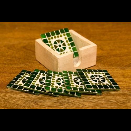 Mozaïek onderzetters Cantara groen in houten box