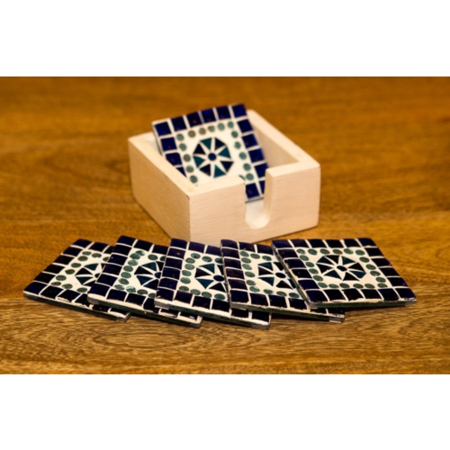 Mozaïek onderzetters Cantara blauw in houten box