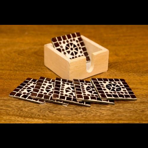 Mozaïek onderzetters Cantara paars in houten box