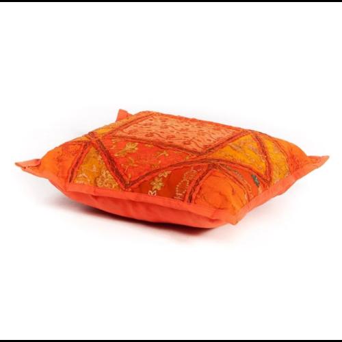 Oosters sierkussen Patchwork India oranje in 2 maten