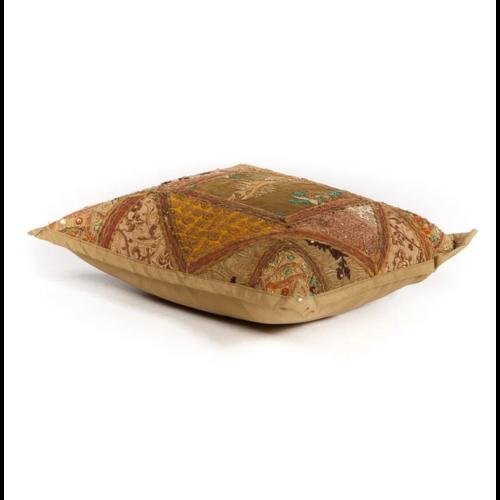 Oosters sierkussen Patchwork India bruin in 2 maten