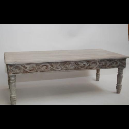 Oosterse salontafel traditioneel houtsnijwerk grey wash