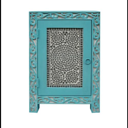 Nachtkastje mozaïek turquoise