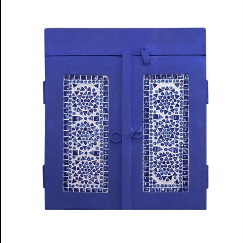 Badkamerkastje blauw wash met blauw mozaïek