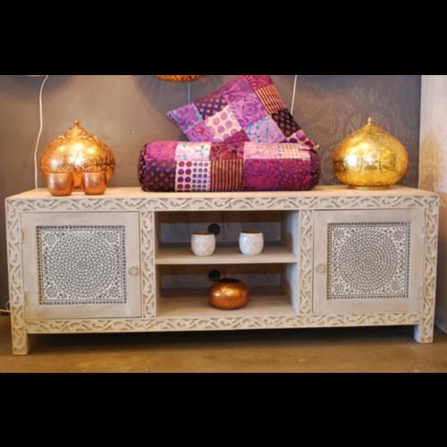 Oosters tv meubel wit met houtsnijwerk en transparant mozaïek