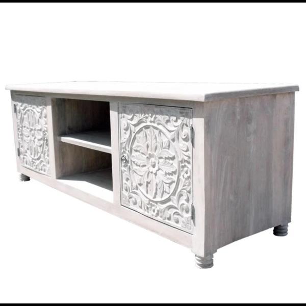 Oosters tv meubel wit met houtsnijwerk