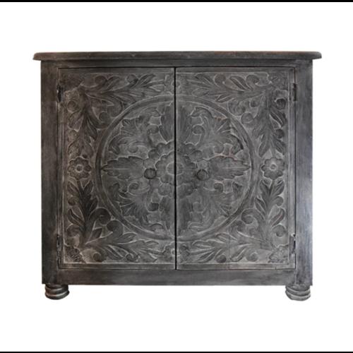 Oosterse lage kast donker grijs met houtsnijwerk