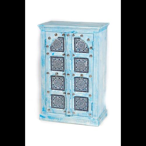 Oosterse kast met zilver beslag en mozaïek blue wash