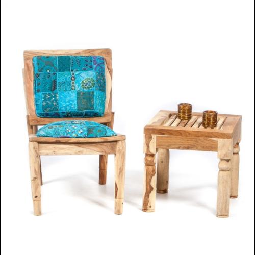 Loungestoel Naissa patchwork blauw