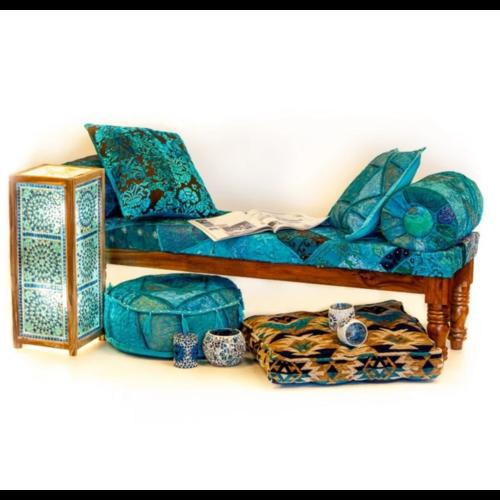 Sofa Alya patchwork blauw