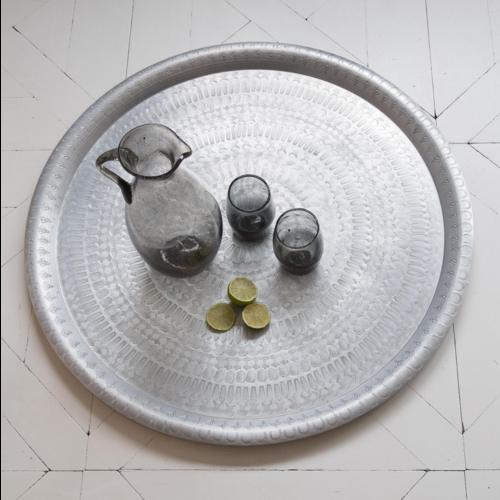 Orientaalse tray antiek stijl zilver in 2 maten
