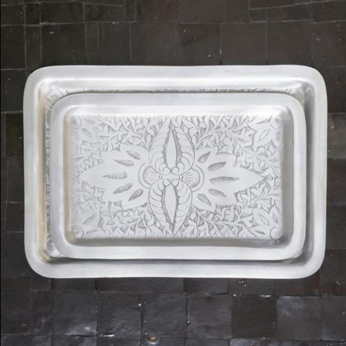 Orientaalse tray set rechthoekig zilver