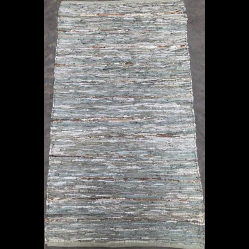 Vloerkleed Recycled Leer Salie/Goud in 3 maten