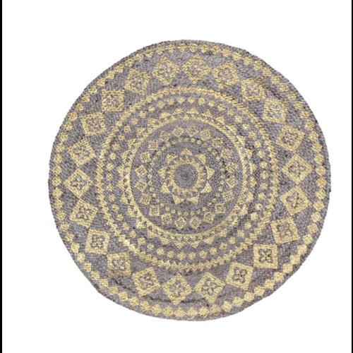 Vloerkleed rond jute met goudkleurige mandala print