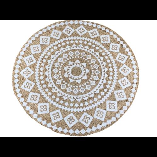 Vloerkleed rond jute met witte mandala print in 2 maten