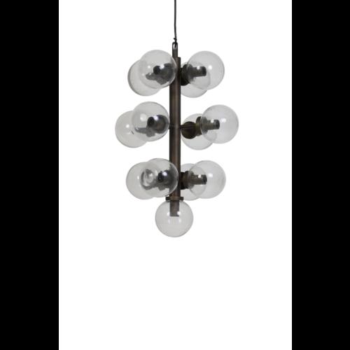 Hanglamp Lydia glas en zwart metaal in 2 maten