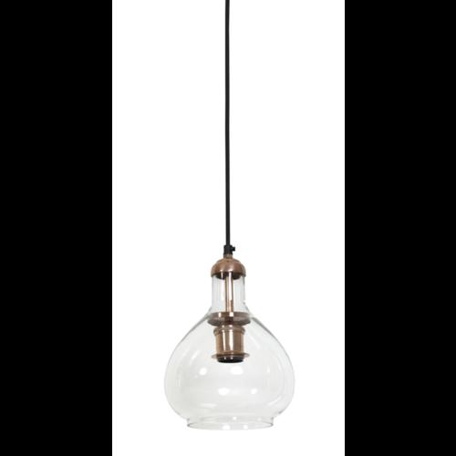 Hanglamp Chrissy transparant glas en koper