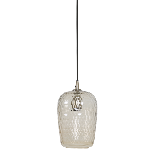 Hanglamp Christiana transparant glas en koper