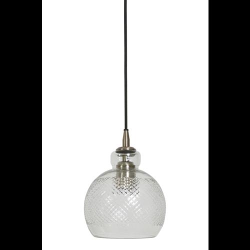 Hanglamp Chlyssa transparant glas en koper in 2 maten
