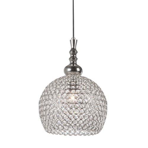 Hanglamp Chantelle transparant glas en nikkel