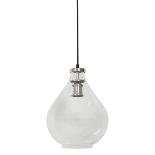 Hanglamp Casey transparant glas en nikkel