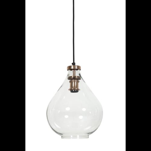 Hanglamp Casey transparant glas en koper