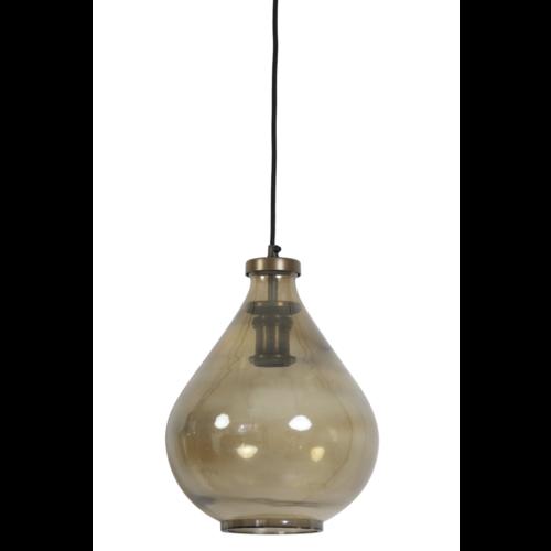 Hanglamp Casey bruin glas en koper