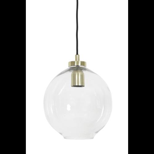 Hanglamp Celeste transparant glas en brons