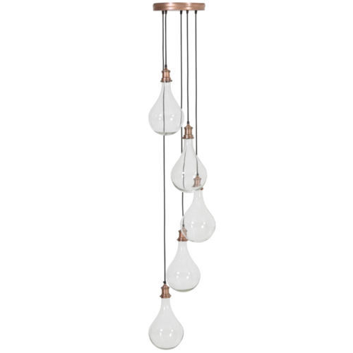 Hanglamp Celia transparant glas en koper
