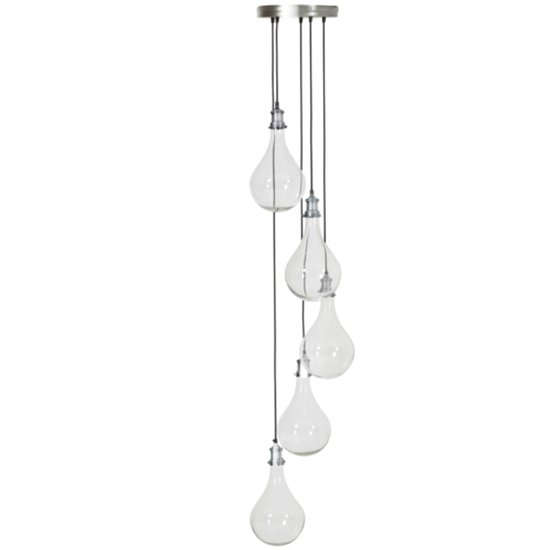 Hanglamp Celia transparant glas en nikkel