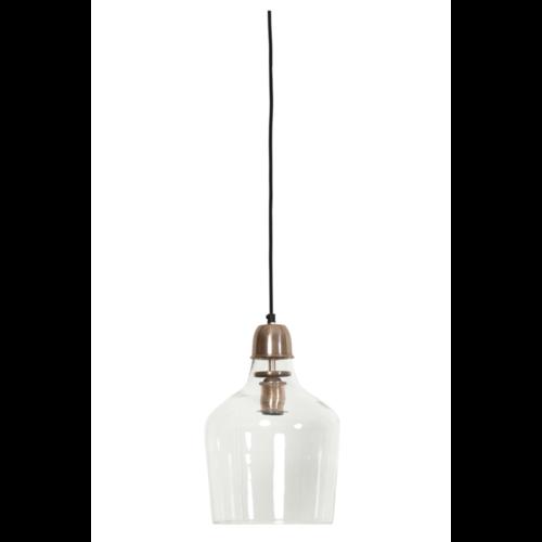 Hanglamp Chaya transparant glas en koper