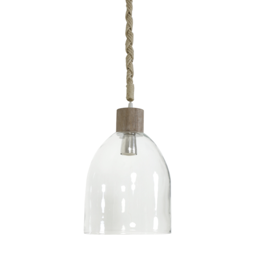 Hanglamp Cecily transparant glas en hout
