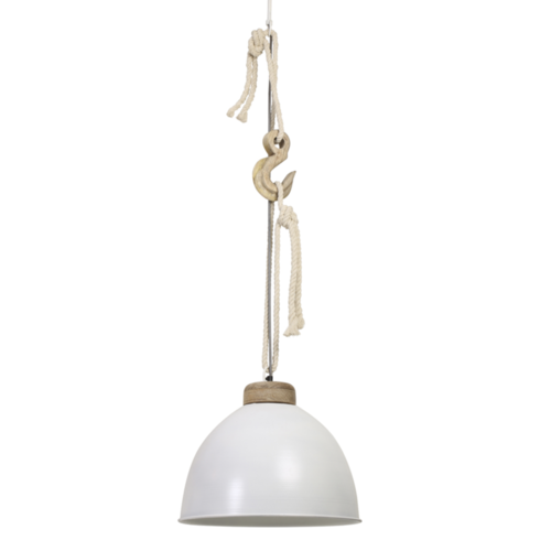 Hanglamp Lyna wit metaal en hout
